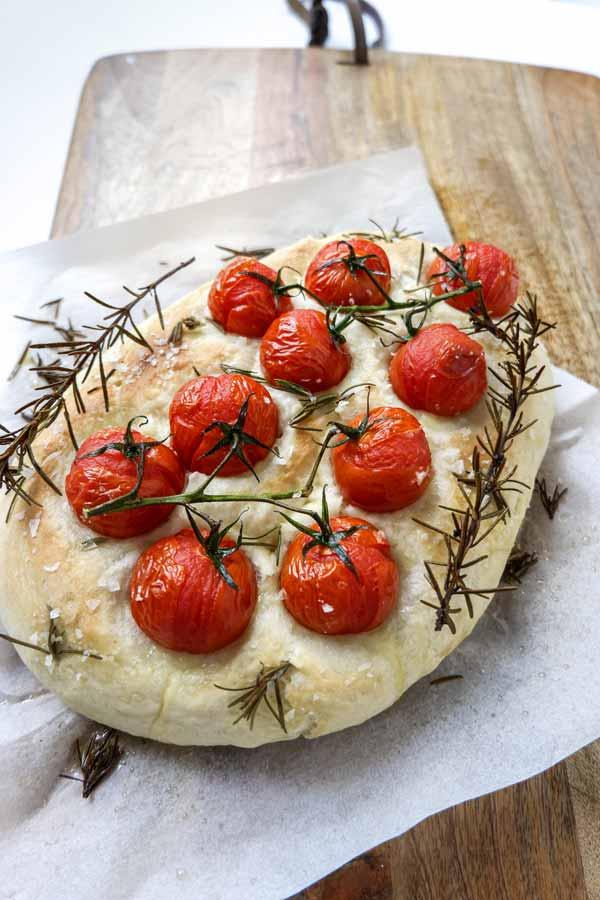 vegan tomato and rosemary focaccia