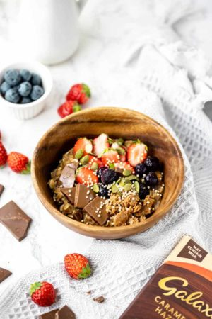 caramelised hazelnut chocolate porridge